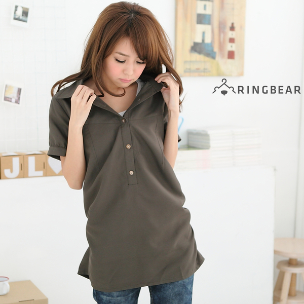 長版襯衫--初春顯瘦印象感素面長版縮腰襯衫(白.黑.綠.灰.藍M-3L)-H90眼圈熊中大尺碼