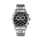 【SWISS MILITARY HANOWA】瑞士錶三眼指針計時錶+錶帶-紳士銀SM10091JSN.02M(SET)/台灣總代理公司貨兩年保固