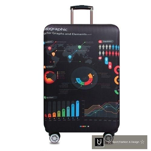 【US.STYLE】數據世界30吋旅行箱防塵防摔保護套