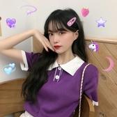 針織上衣夏季2020新款學院風POLO領紫色顯瘦短款洋氣針織短袖T恤上衣女ins JUST M