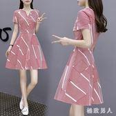 短袖洋裝 連身裙2019新款夏女士裙子仙女森系甜美法式收腰顯瘦氣質 BT8799【極致男人】