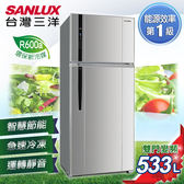 ★贈法國餐盤五件組 SANLUX台灣三洋 冰箱 533L雙門直流變頻冰箱 SR-C533BV1