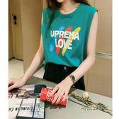 夏季2018新款韓范學生字母印花無袖背心t恤女寬鬆體恤打底上衣潮「時尚彩虹屋」