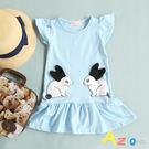 童裝 洋裝 立體耳朵兔子傘襬短袖洋裝(藍...