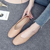 新款韓版方頭復古奶奶鞋女平底單鞋大碼40-43軟皮鞋34淺口鞋 QQ2669『樂愛居家館』