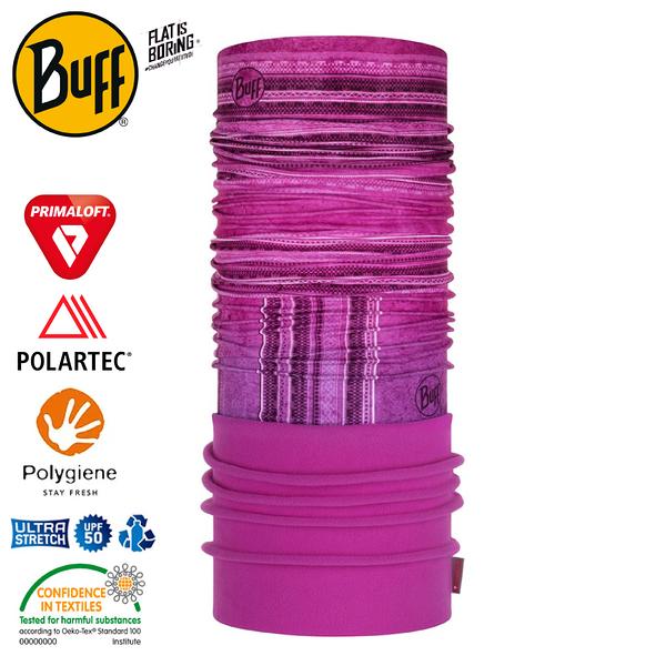 【BUFF 西班牙 Polar 保暖頭巾 Plus 拼接玫紅】120921/圍脖/帽子/口罩/圍巾/快乾透氣