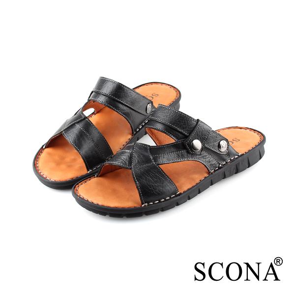 SCONA 蘇格南 全真皮 手工精縫兩穿式涼拖鞋 黑色 1739-1