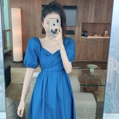夏季2020新款法式收腰顯瘦中長款復古泡泡短袖溫柔風氣質連身裙女