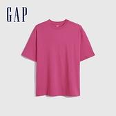 Gap女裝 厚磅密織系列基本款寬鬆廓形短袖T恤 701590-淺紫紅
