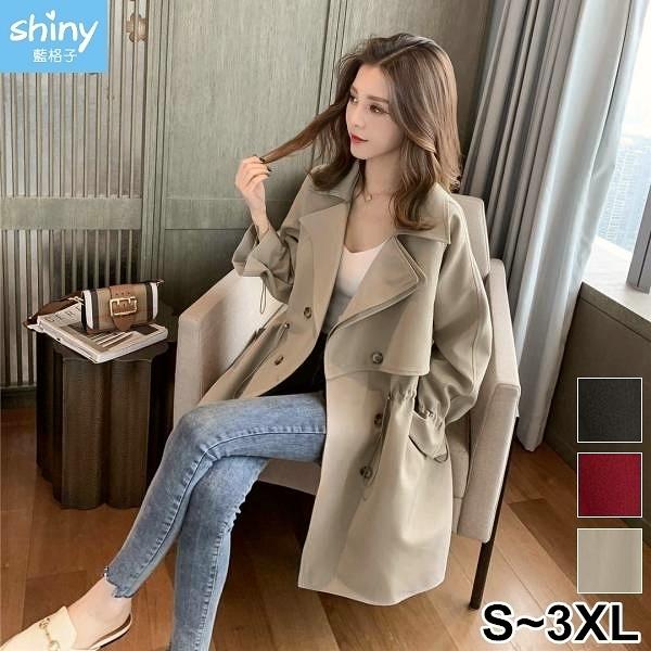 【V3266】shiny藍格子-百搭單品.純色收腰雙排扣風衣大衣外套