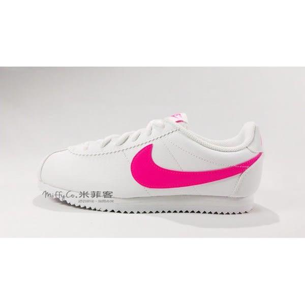 NIKE 米菲客 Cortez 749502 106 白底桃粉勾 皮革 復古 阿甘鞋 慢跑鞋 女鞋 大童鞋