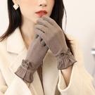 手套 手套冬天女秋季韓版薄款彈力開騎車學生防風保暖加絨防寒觸屏短款【快速出貨八折搶購】