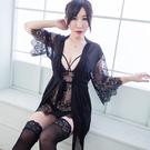 3件式睡袍組 精緻蕾絲性感睡衣睡袍組帶胸...