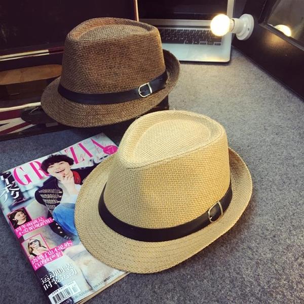 [協貿國際]戶外遮陽草帽情侶沙灘帽英倫男防曬爵士禮帽子1入