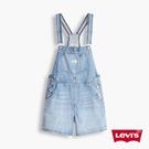 Levis 女款 復古中高腰吊帶牛仔短褲 / 精工中藍染水洗 / 微破壞細節