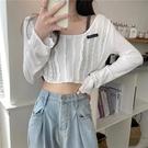 披肩 白色針織衫女夏季寬鬆顯瘦鏤空短款薄款長袖防曬罩衫上衣-Ballet朵朵