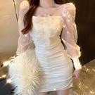 2021年春秋季新款閃閃蝴蝶結網紗長袖洋裝氣質收腰包臀裙子女裝 蘿莉新品