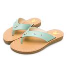 PLAYBOY 柔軟真皮V型寬帶修身涼拖鞋-藍綠(Y7321)
