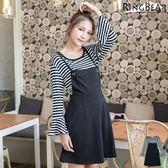 兩件式--必Buy款輕甜魅力兩件式條紋寬袖上衣+綁繩吊帶連身裙(黑XL-4L)-X221眼圈熊中大尺碼