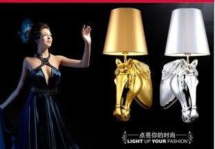 設計師美術精品館創意馬頭樹脂布藝壁燈酒店客房床頭燈工程燈具 客廳燈、臥室燈金色