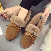 毛毛豆豆鞋女棉瓢鞋秋冬季新款平底鞋加絨網紅女鞋子潮