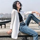 西裝外套薄款夏天防曬衣chic小西裝七分袖白色雪紡外套女夏季西服寬鬆大碼 可然精品