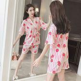 日式短袖睡衣女夏季和服純棉兩件套裝清新學生可外穿韓版棉家居服