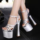 恨天高銀色婚鞋粗跟防水臺模特夜店演出鞋18cm/20公分超高跟涼鞋