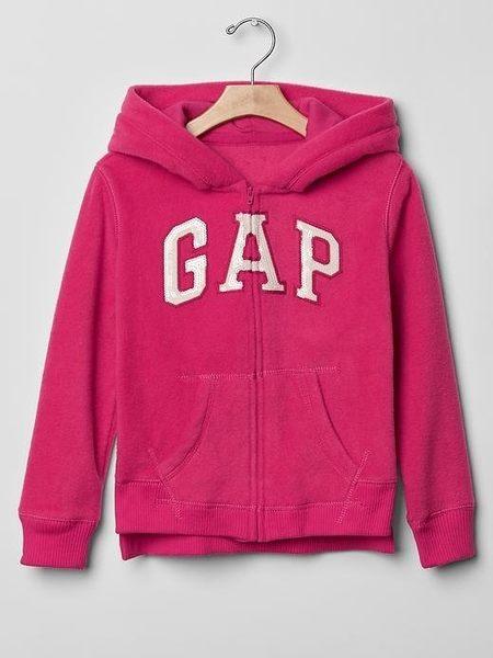 【BJ.go】GAP KIDS_Arch logo fleece zip hoodie 經典LOGO貼布繡刷毛連帽外套XXL=大人XS號