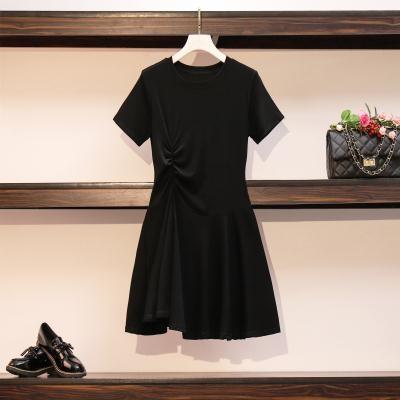 M-4XL小中大尺碼洋裝~大碼女裝胖MMT恤連身裙收腰氣質顯瘦穿搭輕熟風洋氣裙子