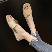 穆勒鞋 新款夏季拖鞋百搭網紅一字拖女時尚沙灘鞋穆勒半拖鞋外穿涼拖  卡洛琳