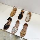 羅馬鞋 包頭涼鞋年新款女編織夏季平底羅馬涼鞋一字帶休閒涼拖ins潮 城市科技