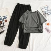 2020新款夏韓版網紅洋氣時尚休閒運動套裝女短袖九分闊腿褲兩件套 童趣屋