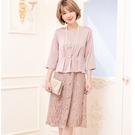 小三衣藏[88365-S]端莊顯瘦遮肚假兩件拚蕾絲裙宴會七分袖洋裝連身裙