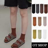 OT SHOP [現貨] 襪子 中筒襪 女款 棉質 素色 坑條紋 文青簡約百搭 秋冬大地色系 十色 M1163