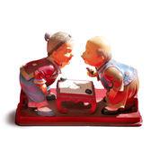 【金石工坊】壽公婆-棋樂無窮(高10.5CM)老公公老婆婆擬真擺飾 居家擺飾 結婚禮物 桌上擺飾