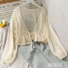 罩衫 薄款微透外搭短款針織開衫女夏配吊帶裙的小外套披肩防曬衫空調衫 韓菲兒