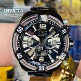 【INVICTA】三繩ㄧ生 - 三眼計時腕錶 - 黑銀繩索