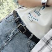 奮利德清新皮帶女士簡約百搭韓國chic版配牛仔褲腰帶黑色二層牛皮