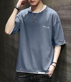 短袖t恤男士2020新款純棉冰絲潮牌潮流男裝港風衣服寬鬆夏季半袖 歐韓時代