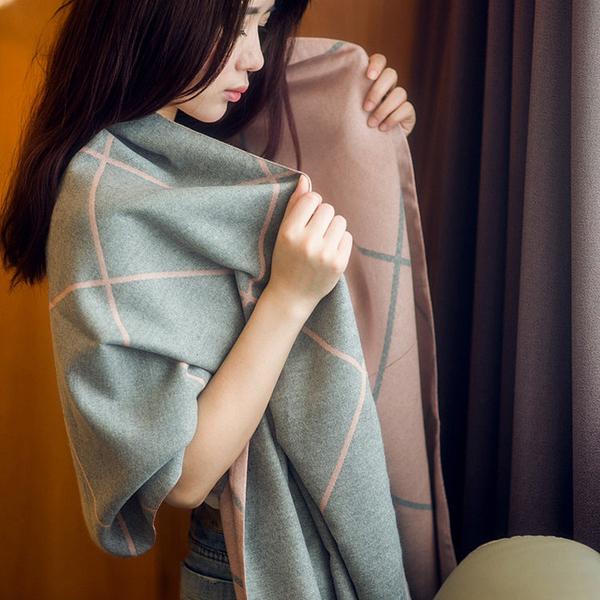 圍巾 圍巾女秋冬季韓版雙面格子仿羊絨披肩加厚兩用百搭圍脖保暖大披風 店慶降價