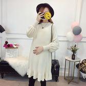 孕婦秋冬毛衣連衣裙加厚中長款套頭打底衫冬裝上衣