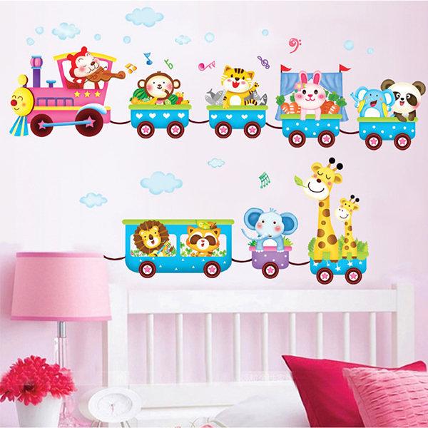 BO雜貨【YV0553】DIY可重複貼 時尚壁貼 牆貼壁紙 壁貼紙 創意璧貼 可愛動物火車XY1125