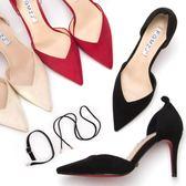 夏季裸色一字扣帶真皮紅色高跟鞋細跟黑色尖頭中跟綁帶涼鞋女單鞋  米娜小鋪