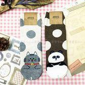 【KP】韓國 22-26cm 可愛 圓點 雙色 貓咪 熊貓 成人襪 直版襪 襪子 DTT100007735