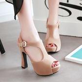 除舊佈新 新款涼鞋女夏季歐美風粗跟羅馬鞋防水臺丁字帶魚嘴高跟鞋大碼女鞋