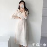 秋裝2020年新款顯瘦減齡赫本風氣質收腰連身裙女中長款高腰a字裙CL397『毛菇小象』