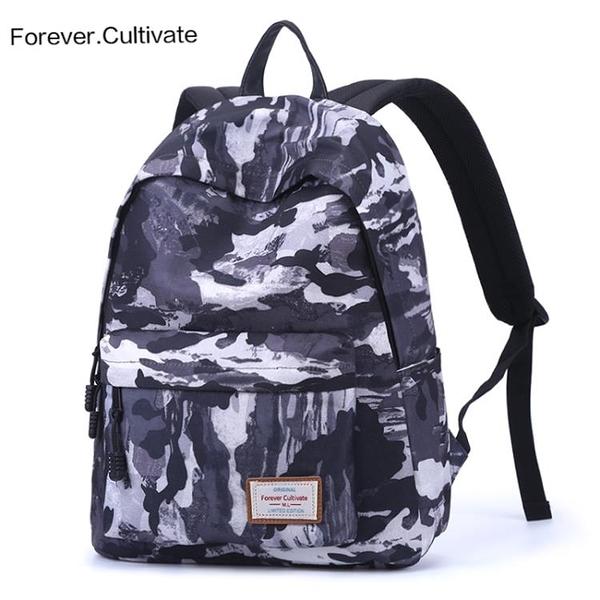 Forever cultivate撞色雙肩包男韓版潮運動旅行背包中學生書包女