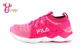 FILA 運動鞋 女童 大童 鬆緊襪套式 慢跑鞋 O7648#桃紅◆OSOME奧森鞋業