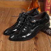 男士皮鞋尖頭商務正裝亮面繫帶低幫增高英倫韓潮春夏季鞋 全館免運